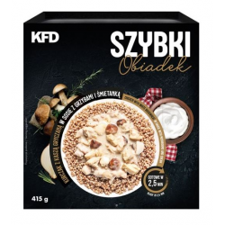 KFD FAST LUNCH 415 G. CHICKEN WITH WHITE BUCKWHEAT IN SAUCE WITH MUSHROOMS AND CREAM